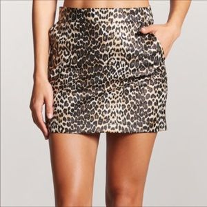 Forever 21 Faux Leather Leopard Mini Skirt - Sz 28